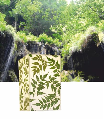 Κρεμαστό φωτιστικό κρεβατοκάμμαρας με ύφασμα και φύλλα