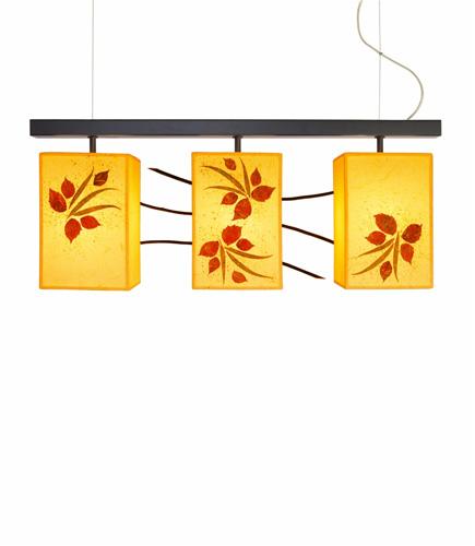 Τριπλό κρεμαστό φωτιστικό με φύλλα