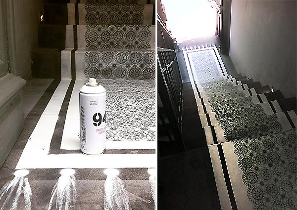 Διακόσμηση δαπέδου με stencil